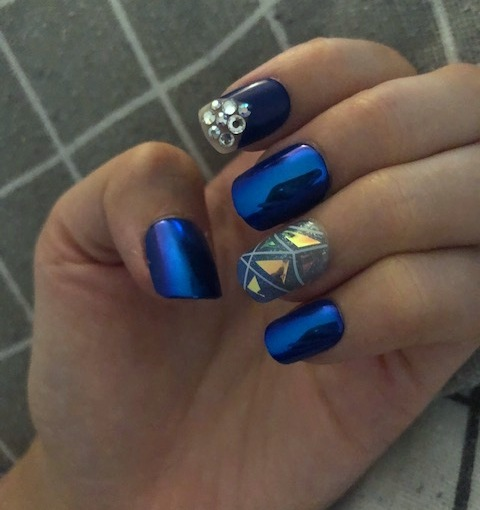 BEAUTY-NAILS – Self Nail Art of The Week 3 – Bling Bling Metallic Blue