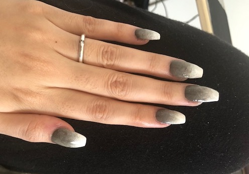 Gray Marble Mood with Ombre Gradient Design self nail art